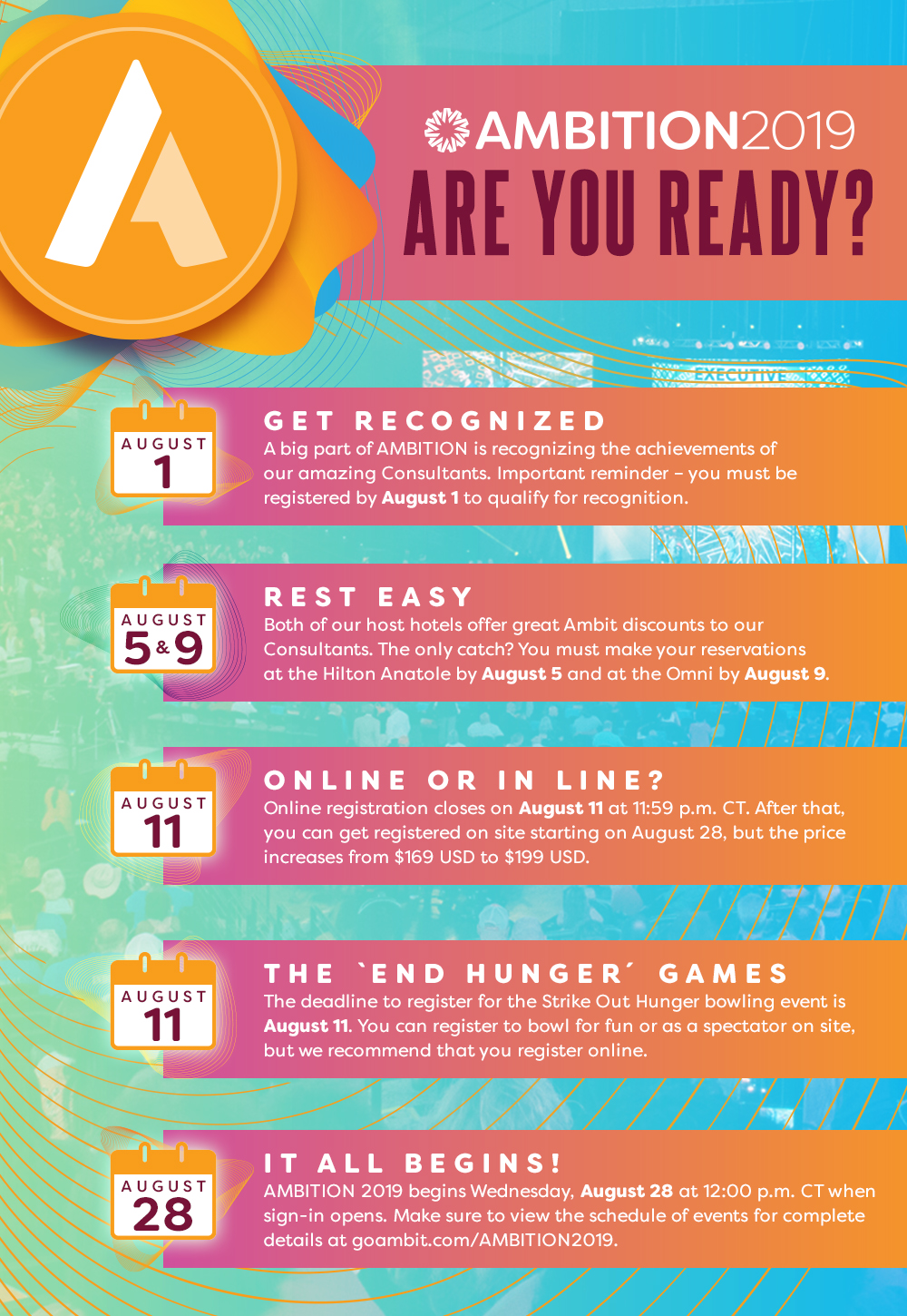 Infographic: AMBITION 2019 is less than 100 days away! Here are the key deadlines you need to know as we countdow