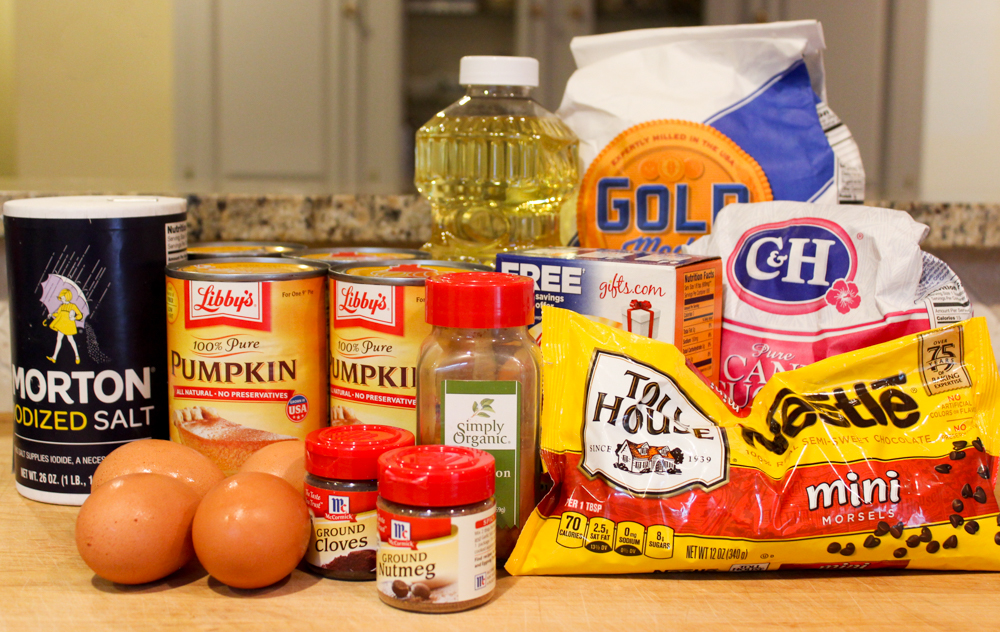 Chocolate Chip Pumpkin Bread Ingredients