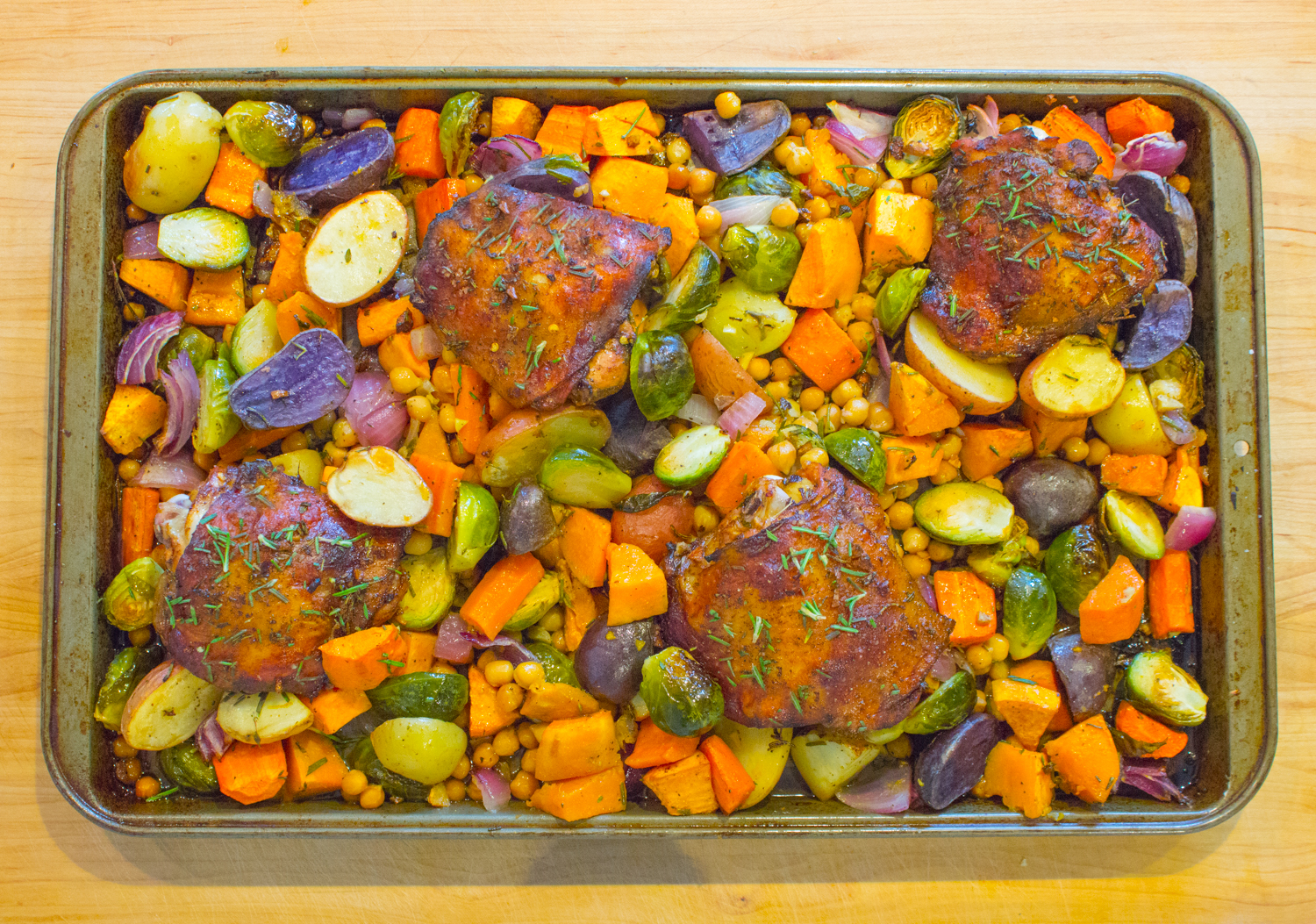 One Pan Roasted Chicken and Fall Vegetables
